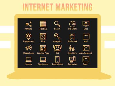 Internet Marketing Icon Set Line Style