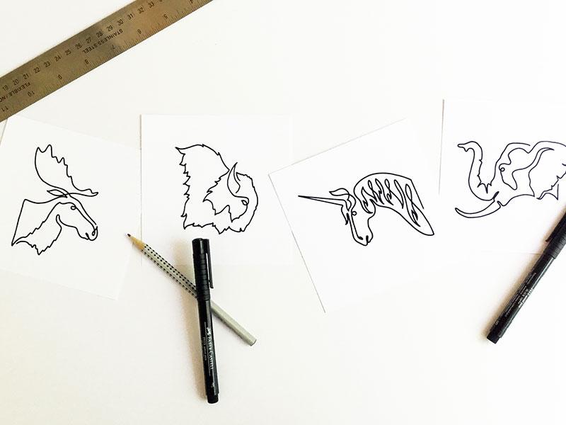 Beastseries animals single line drawing illustration