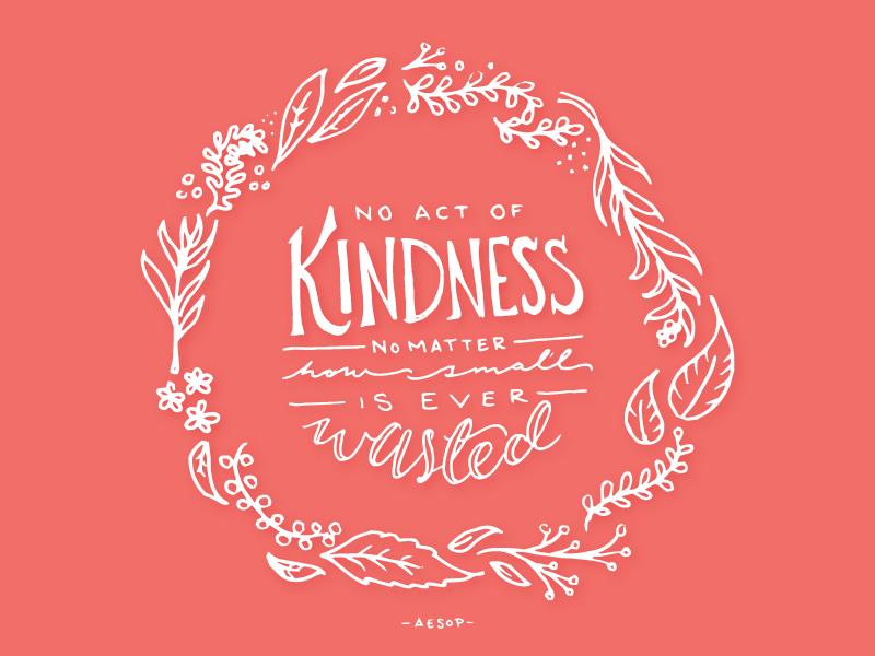 Kindness floral illustration lettering