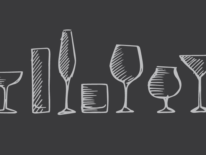 Cocktails hand rendered sketch illustration