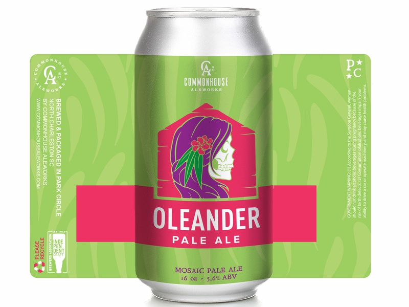 Oleander Pale Ale beer label label mockup label design beer art hand rendered illustration