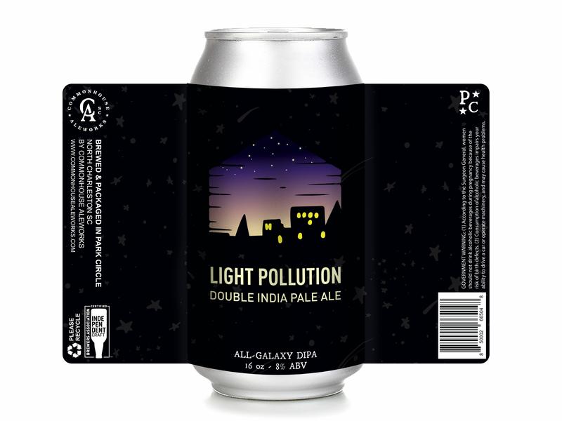 Light Pollution Double IPA vector design beer label graphic design beer label design hand rendered illustration beer art