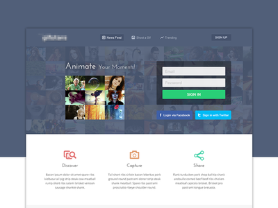 Animate Your Moments! website ui ux interface web form login icons social images animate gif animation sign up app