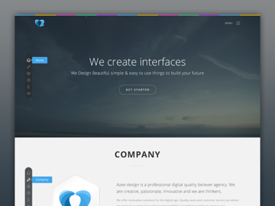 Azee Design ui ux web side navigation header clean flat agency logo icons pakistan colors