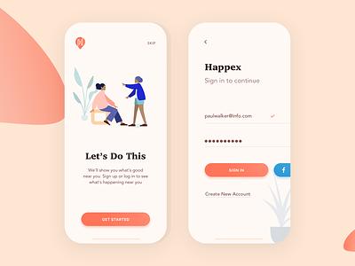 Happex - Find & Create Events minimal illustration ux ui clean mobile mobile design application app design app create find event mobile app