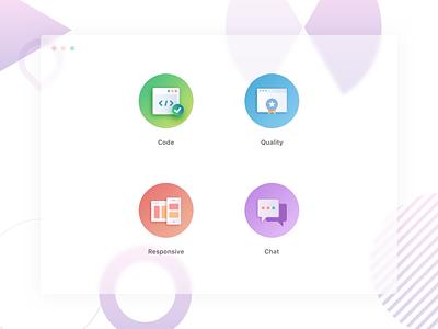Portfolio Icons umer frontend chat responsive quality code gradient art portfolio flat branding vector illustration web user social clean icons