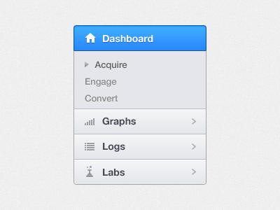 Navigation ui ux dashboard tabs icons arrow home blue splitters box clean simple navigation