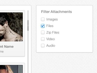 Filter ui ux mark check box scroll bar