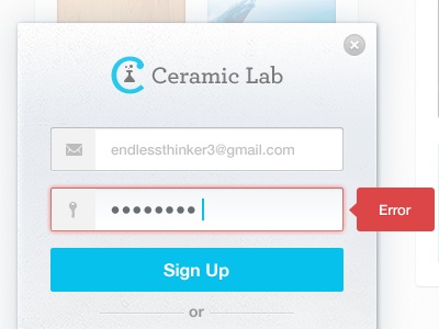 Sign Up ui ux sign up form field icons buttons error social close user