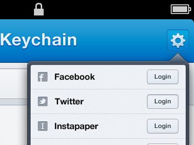 Keychain ui ux ios iphone user register icons fields social lab dropdown