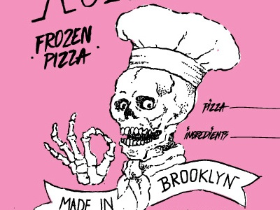 Work in Progress handdrawn pizza blackink brooklyn illustration