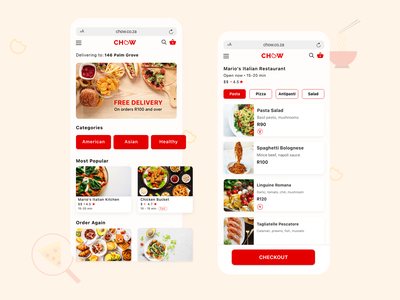 Chow Food Delivery App flat minimal design app