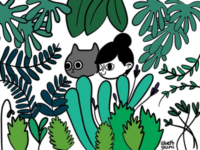 Girl, Cat, Plants