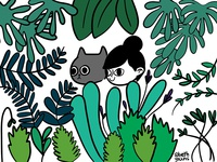 Girl, Cat, Plants