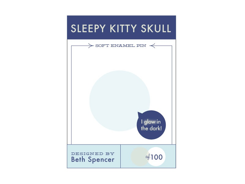 Sleepy Kitty Skull Pin Backing Card illustration design kitty spooky skull cat