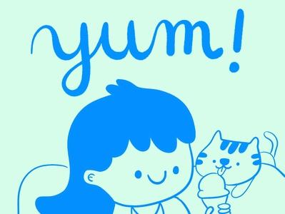 Yum! icecream cats cute design cat illustration cat drawing kitty illustration illustration cat kitty 100catsdoingthings