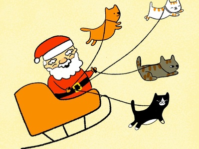 Meow-y Christmas santaclaus cute kitty illustration cat illustration kitty cat holidays christmas cats