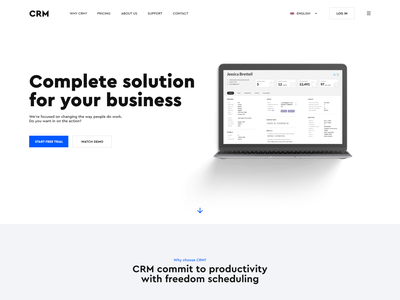 CRM homepage design web crm landing page user experience user interface ux interface animation minimalistic interaction design web design graphic design website design ui