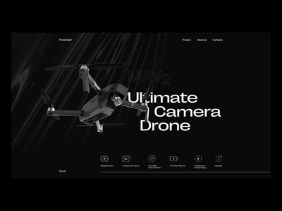 Drone Landing Page Design web marketing landing page dark theme drones drone web animation animation motion design design studio ux web website typography interface web design ui minimalistic graphic design design
