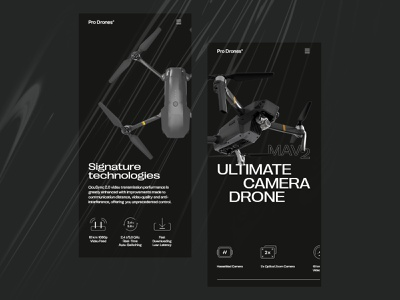 Drone Landing Page for Mobile ux web website interface ui graphic design landing page drones drone web design mobile responsive web design responsive website dark theme mobile screens