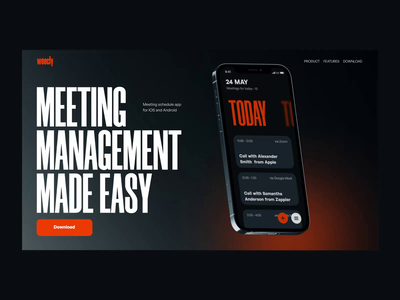 Meeting Schedule App Landing Page user experience user interface interface website web design ui web ux design studio interaction design landing page web marketing meeting app schedule app calendar app landing page landing page design animation mobile app