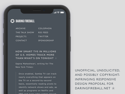 Unsolicited responsive design proposal for daringfireball.net ★ 4a525a spec proposal possibly illegal unofficial unsolicited daring fireball web