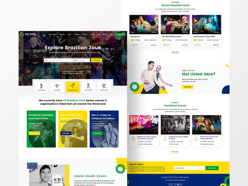 Brazilian Zouk Dance Directory Landing Page Design web ux ui web design webdesign popular design homepage home page 2020 trend dancer directory dance