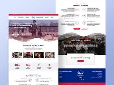 Home Page Design for Music Academy musician wordpress design wordpress psd template psd design psd mockup london academy music web design webdesign homepage 2020 trend home page