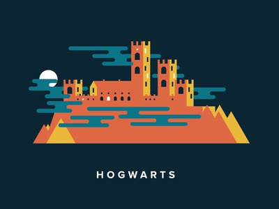 Hogwarts harry potter castle clouds mountain moon night