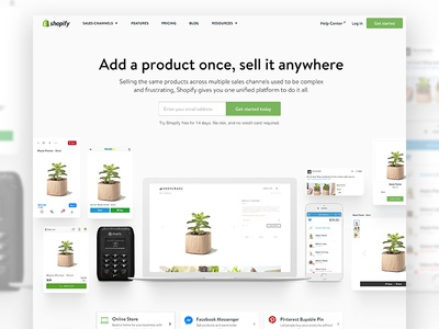 Shopify Channels animation product feature page landing channels shopify