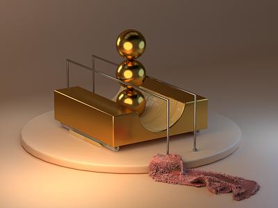 Gold 3d fabric balls gold cinema 4d