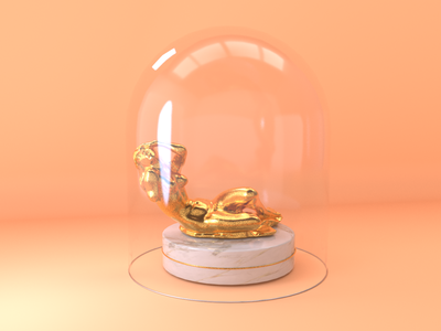 Gold statue lady glass gold cinema 4d 3d animation