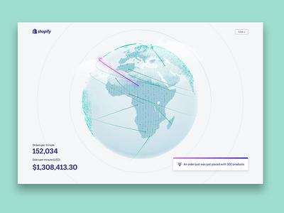 BFCM 2018 Live Globe sales earth globe data web animation 3d landing page shopify