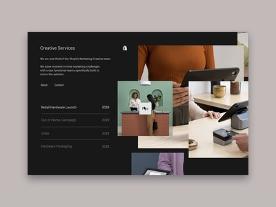 Shopify Creative Services Team ui branding site figma animation web landing page website shopify