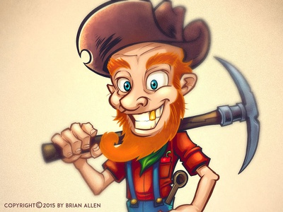 Miner Character Mascot and Website Background Design mascot character design t-shirt design illustrator flyland designs flylanddesigns brian allen cartoon chili cave chili mountain web template website ui miner animation