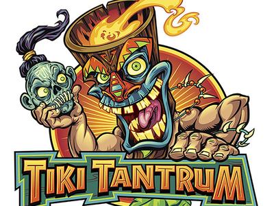 Tiki Character Holding Shrunken Head Logo