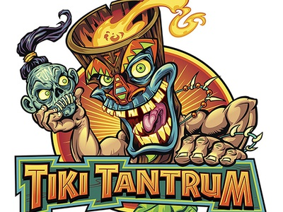 Tiki Character Holding Shrunken Head Logo freelance character design character beach flylanddesigns branding flyland designs t-shirt design cartoon mascot colorful brian allen illustration tropical witch doctor logo tiki