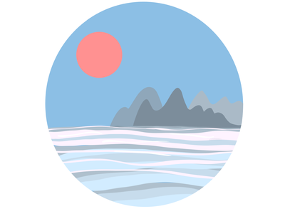 Sea sunset mountains sunset sea sun simple illustration flat illustration art illustration procreate