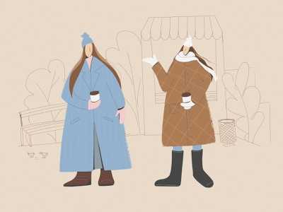 Coffee talk girls sisters advertising socialmedia girl character autumn simple illustration flat procreate illustration art illustration