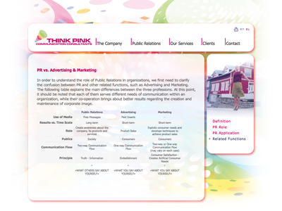 Think Pink web design