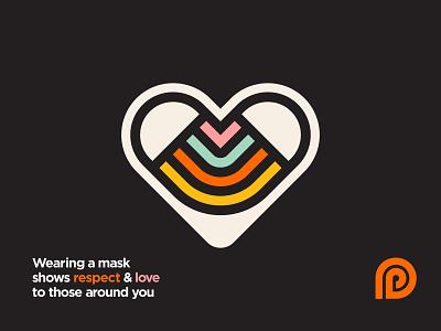 Respect & Love illustration branding covid mask