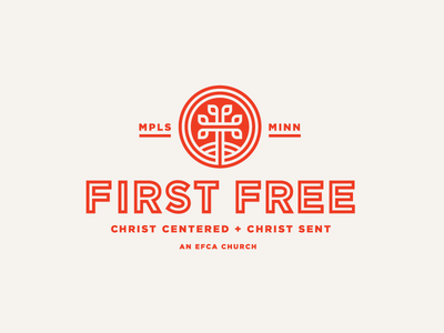 First Free / Final Logo christ tree cross identity logo church
