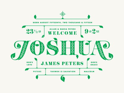 Joshua Birth Announcement christian holy typography floral leaf flourish inline lettering birth announcement