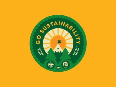 Sustainability Merit Badge merit scouts pines tree trees flag mountain sun crest badge