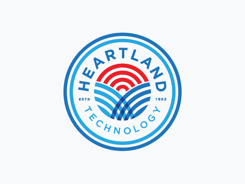 Heartland flag stripes communication fiber wi-fi sunset field process sketches identity logo