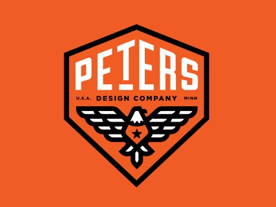 Peters Design Co Eagle Badge Revised logo american america monoweight thicklines crest badge pdco peters eagle