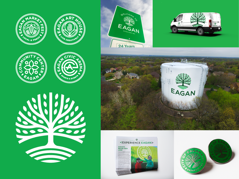 City of Eagan watertower family sub brand flag crest badge city signage logo brand