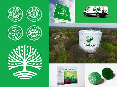 City of Eagan watertower family sub brand flag crest badge city signage logo brand