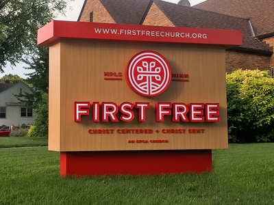 First Free Sign backlit tree cross first free church sign branding logo