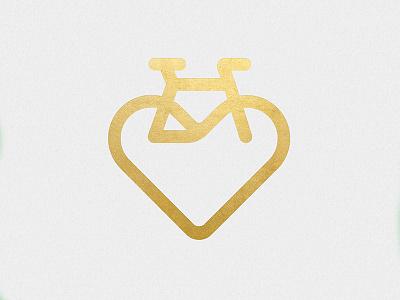 Bike Love gold branding brand logo icon poster ride cycling cycle love heart bike